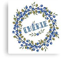 Watercolor Blue berris  branches wreath Canvas Print