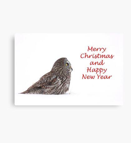 Christmas Great Grey Owl Canvas Print