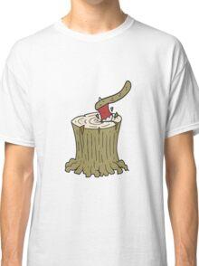 cartoon axe in tree stump Classic T-Shirt