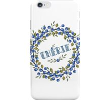 Watercolor Blue berris  branches wreath iPhone Case/Skin