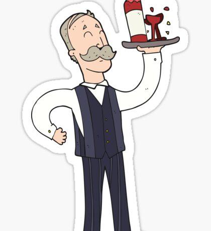cartoon waiter Sticker