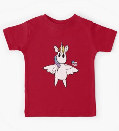 Patriotic Unicorn - Rainbow American Flag / Alicorn / Pegasus Kids Tee