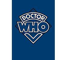 Doctor Who Diamond Logo Blue White Lines. Photographic Print