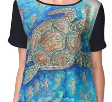 We like to live under the Sea Chiffon Top