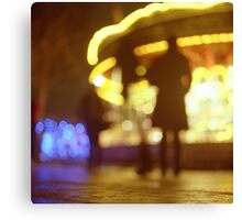 People walking in street at night with fairground lights in Hasselblad vintage camera analogue film photo Canvas Print