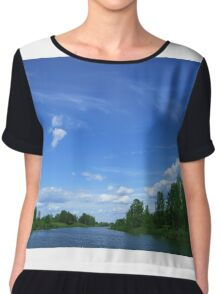 Wild lake before a thunderstorm Chiffon Top