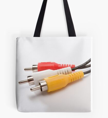 male plugs with cable on white background Tote Bag