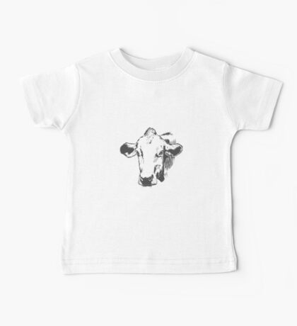 Lovely Cute Cow Sketched Design  Baby Tee