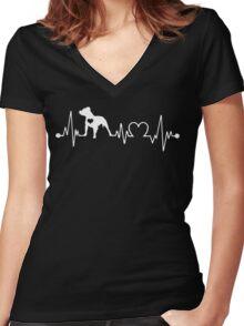Pitbull Heartbeat Women's Fitted V-Neck T-Shirt