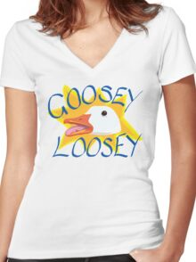 Goosey Loosey Women's Fitted V-Neck T-Shirt