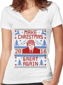 Trump Ugly Christmas Sweater 2016 Make Christmas Great Again Women's Fitted V-Neck T-Shirt