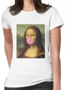 The Bubble Gum Mona Lisa Womens Fitted T-Shirt