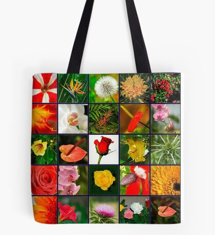 Square collage of 25 image of flowers Tote Bag