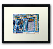 details of the wall decoration on Dome of the rock, Jerusalem, Israel Framed Print