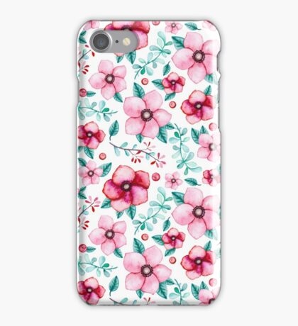 Watercolor Light Blue Leaves, Little Berries and Bright Pink Flowers iPhone Case/Skin