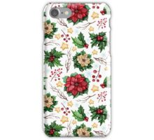 Watercolor Christmas Poinsettia, Berries, Stars and Holly iPhone Case/Skin