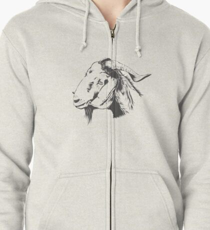 fUNNY Lovely Cute Goat Sketched Zipped Hoodie