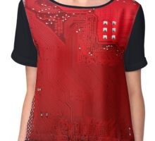 red electronic circuit board Chiffon Top