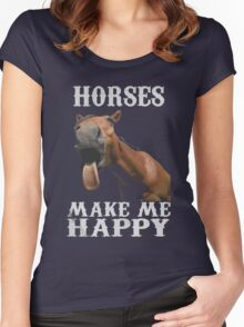 Horses Make Me happy Xmas Shirt Women's Fitted Scoop T-Shirt