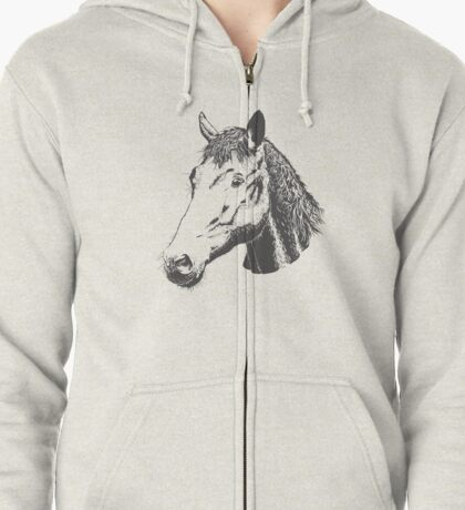 Cute Lovely Sketched Horses Zipped Hoodie