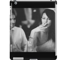 Beautiful young lady in wedding smoking black and white  photo iPad Case/Skin