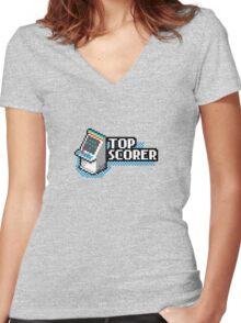 Pixel Arcade Top Scorer Women's Fitted V-Neck T-Shirt