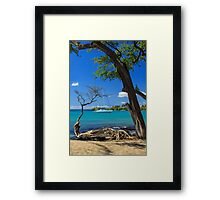 A Sailboat In Anaehoomalu Bay Framed Print