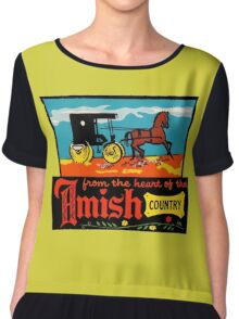 Amish Country Vintage Travel Decal Chiffon Top