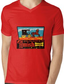 Amish Country Vintage Travel Decal Mens V-Neck T-Shirt