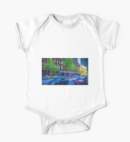 Colourful Melbourne Tram on Collins Street, Melbourne One Piece - Short Sleeve