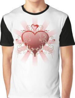Valentine Love - Big Shiny Heart Gold Scroll T-shirt Graphic T-Shirt