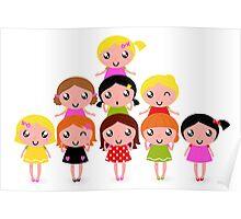Cute school Kids edition 2016 / vintage girls Poster