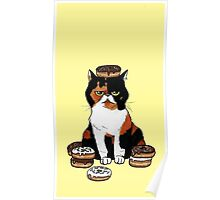 Chubby cat with Doughnuts! Poster