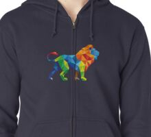 Lovely Colourful Animated Vector Lion For Animals lovers Zipped Hoodie