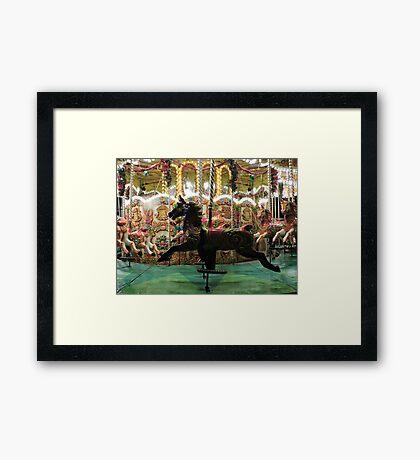 Carousel Black Beauty Framed Print