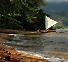 A sailboat In Hanalei Bay by James Eddy