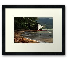 A sailboat In Hanalei Bay Framed Print
