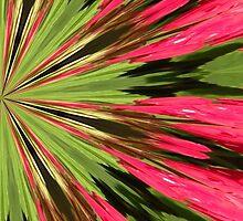 Red and Green Mandala Art by Rosalie Scanlon