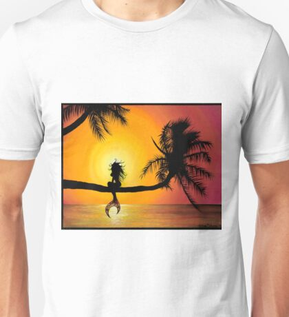 Playful Mermaid Perched on a Palm Tree Unisex T-Shirt