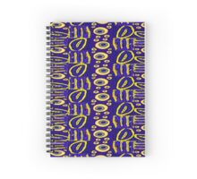 Blue yellow gold purple circle line pattern Spiral Notebook