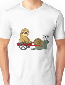 Funny Cool Sloth in Red Wagon Pulled by Snail Unisex T-Shirt