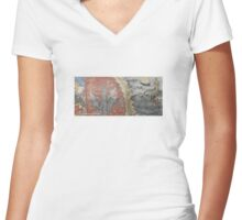 """""""Voronet Church - A Vision of Hell"""" Photography by Alice Iordache Women's Fitted V-Neck T-Shirt"""