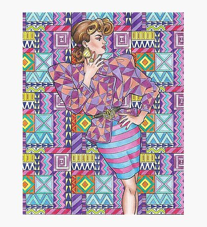 80s Woman - 1980s, 80s, 80s fashion, retro Photographic Print