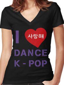 I LOVE  DANCE KPOP Women's Fitted V-Neck T-Shirt