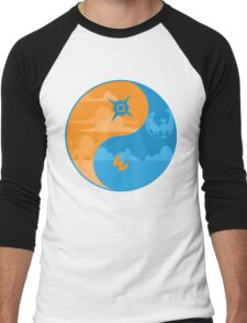 Sun and Moon Yin and Yang Color Men's Baseball ¾ T-Shirt
