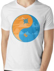 Sun and Moon Yin and Yang Color Mens V-Neck T-Shirt