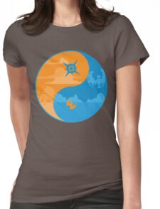 Sun and Moon Yin and Yang Color Womens Fitted T-Shirt