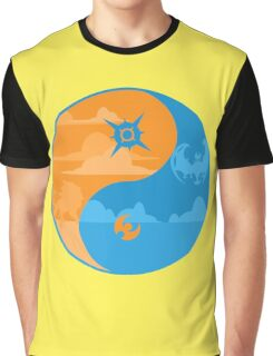 Sun and Moon Yin and Yang Color Graphic T-Shirt