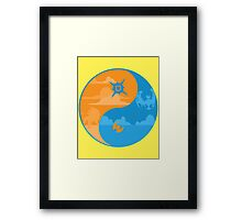 Sun and Moon Yin and Yang Color Framed Print
