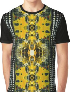 Abstract hand painted yellow and black background. Graphic T-Shirt